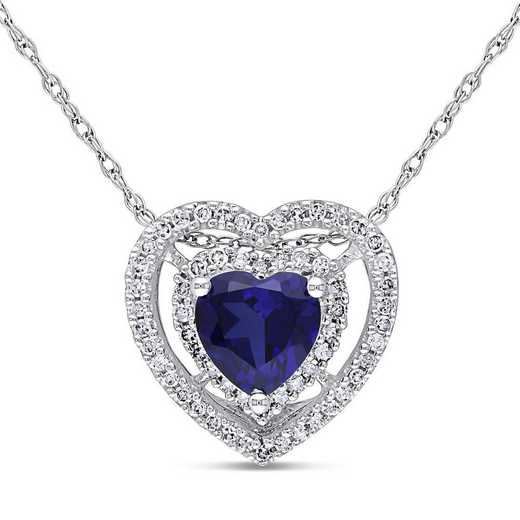 BAL001155: Created Sapphire/1/5CT TW Diamond Heart Necklac/10k Wht Gold