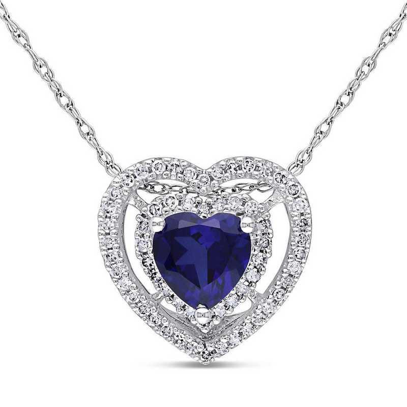 BAL001155: Created Sapphire/1/5CT TW Diamond Heart Necklac/10k Wht Gold