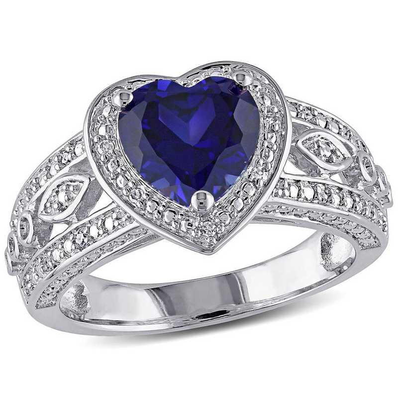 Created Sapphire and 1/10 CT TW Diamond Vintage Heart Ring in Sterling Silver