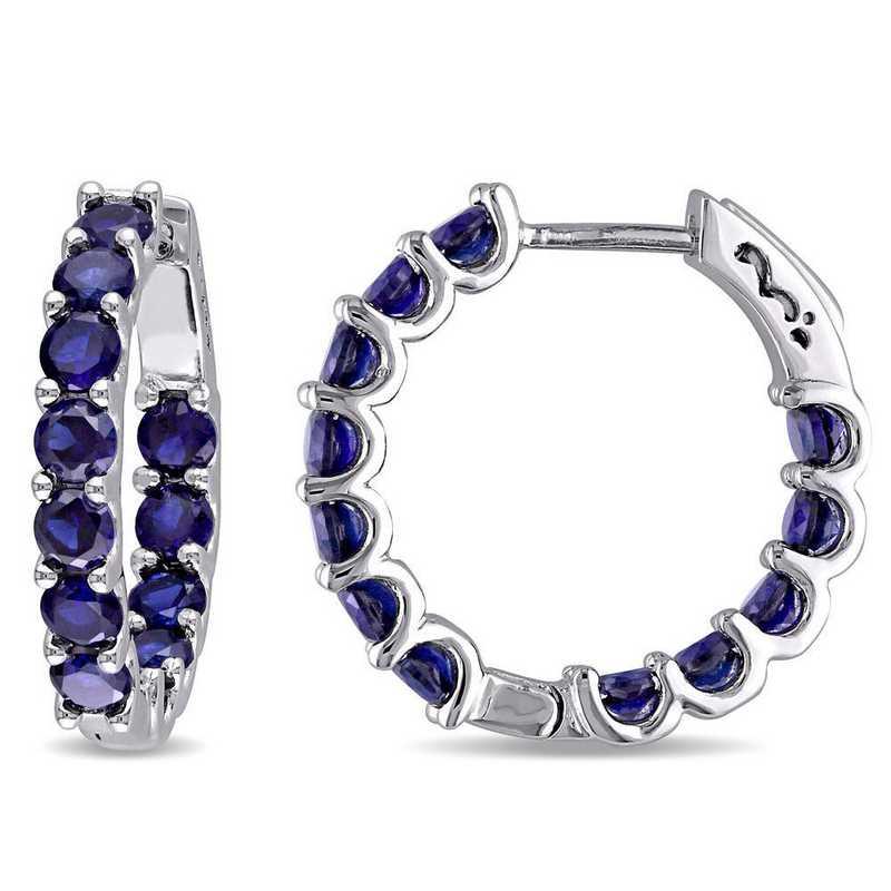 BAL001157: Created Blue Sapphire Inside Outside Hoop Earrings in SS