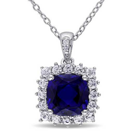BAL001158: Created Blue Wht Sapphire/Diamond Accent Halo Necklace in SS
