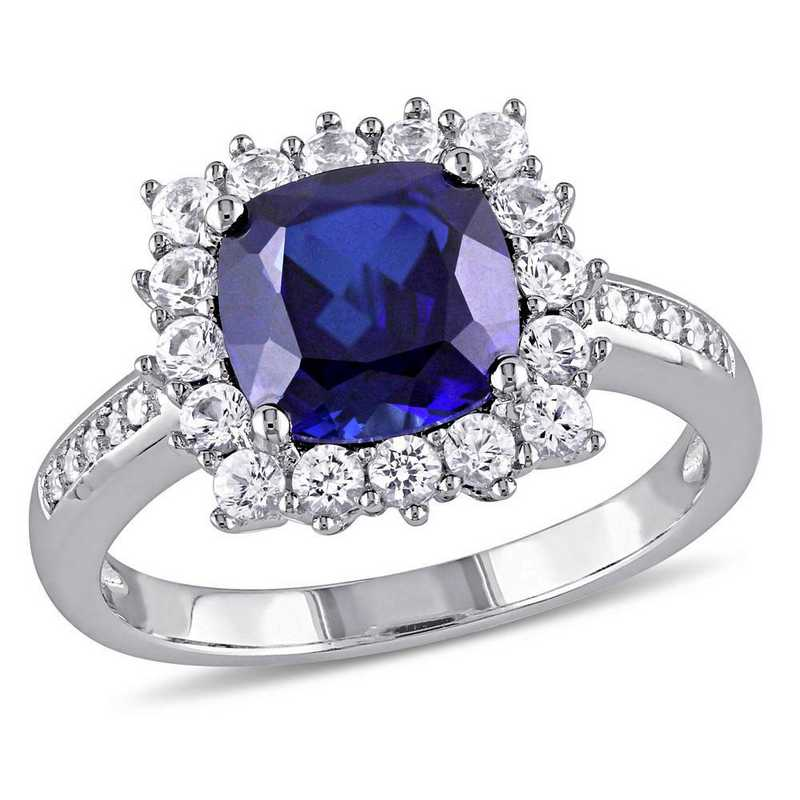 Created Blue and White Sapphire Halo Ring with Diamond Accents in Sterling Silver