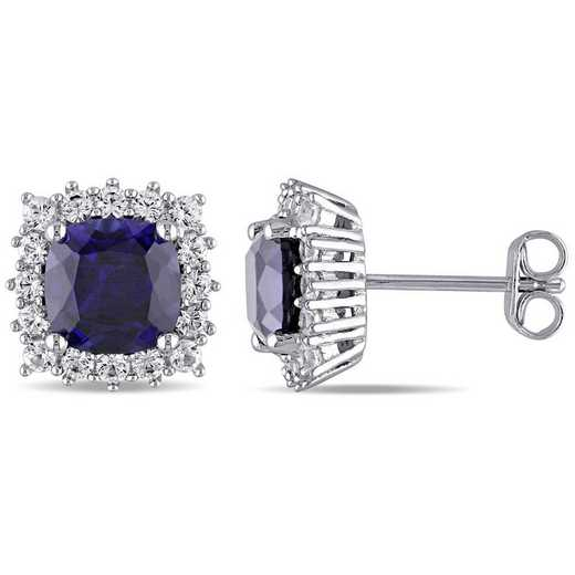 BAL001160: Created Blue/Wht Sapphire Halo Stud Earrings in SS