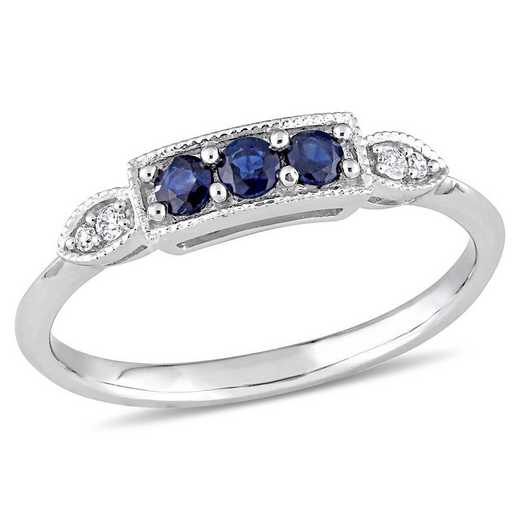 Sapphire and Diamond Accent 3-Stone Ring in 10k White Gold
