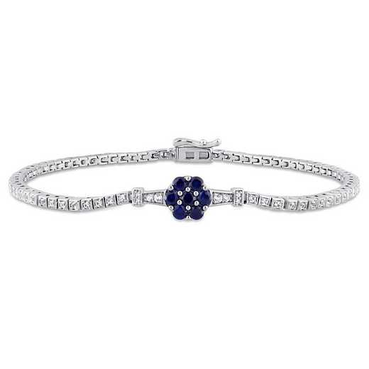 BAL001162: Created Sapp/Diamnd/Acent Station Floral Tenis Bracelt in SS
