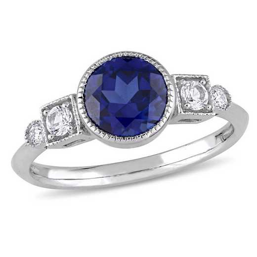 Created Blue and White Sapphire Ring with Diamond Accents in 10k White Gold