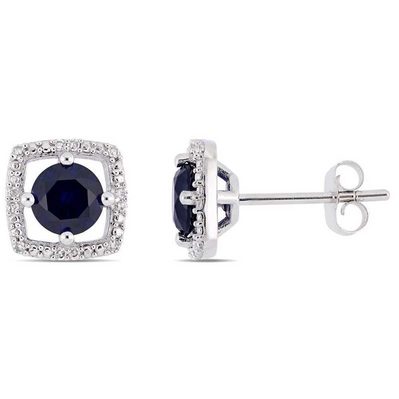 BAL001164: Create Sapphire/Diamnd Halo Square Stud Earring/10k Wht Gold