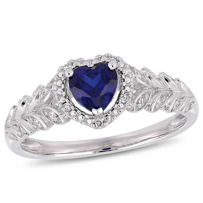 Created Sapphire and Diamond Accent Halo Heart Ring in 10k White Gold