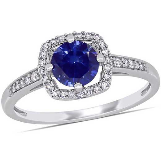 Created Sapphire and 1/7 CT TW Diamond Square Halo Ring in 10k White Gold