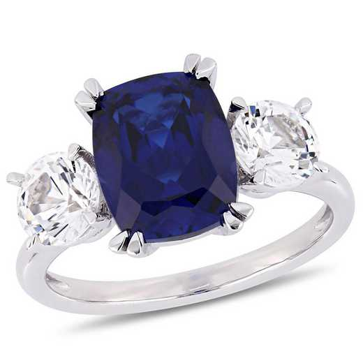 Created Blue and White Sapphire Three-Stone Ring in 10k White Gold