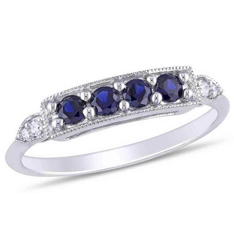 Created Sapphire and Diamond Accent Bar Ring in 10k White Gold