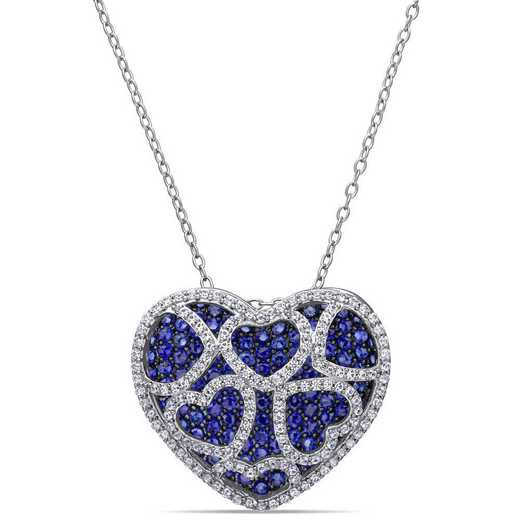 BAL001170: Create Blu/Created Wht Sapphire Heart Cluster Necklace in SS
