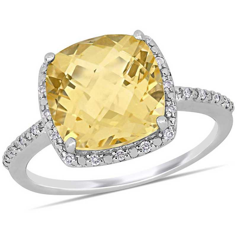 Citrine and Diamond Accent Halo Ring in Sterling Silver