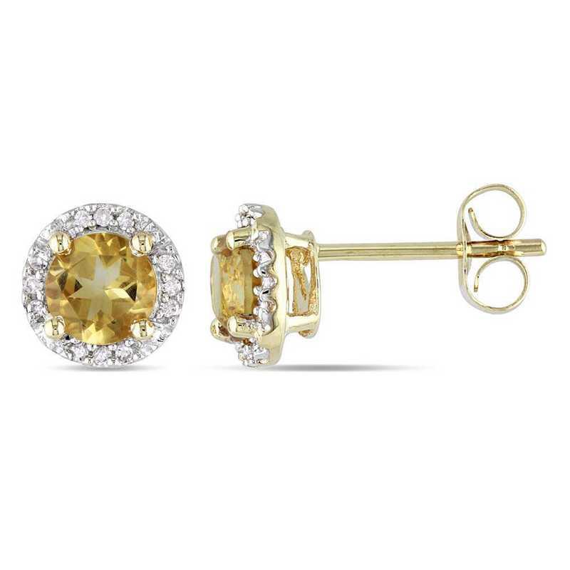 BAL001175: Citrine/Diamond Halo Stud Earrings in 10k Yelow Gold