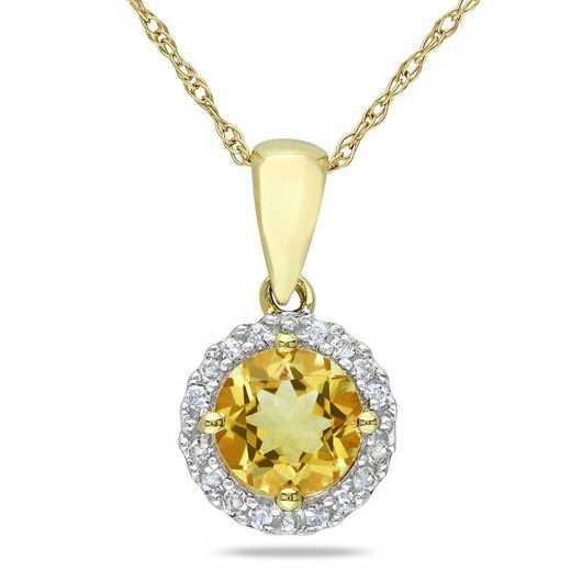 BAL001176: Citrine/1/10 CT TW Diamond Halo Pendant/Chain/10k Yelow Gold