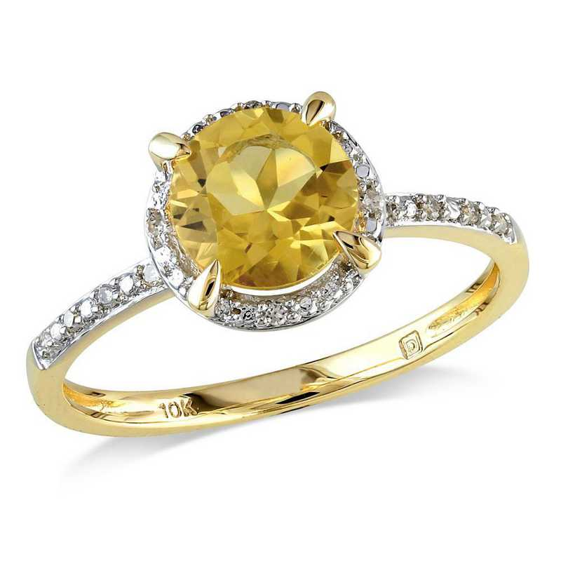 Citrine and Diamond Accent Halo Ring in 10k Yellow Gold