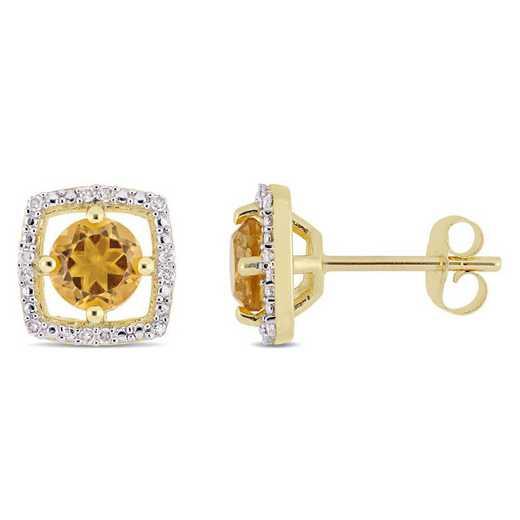 BAL001179: Citrine/Diamond Halo Square Stud Earrings in 10k Yelow Gold