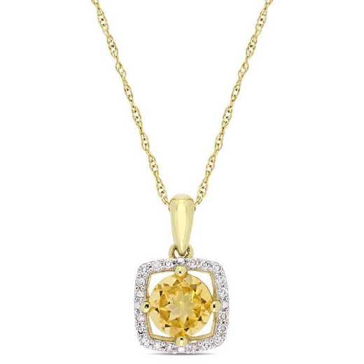 BAL001180: Citrine/Diamond Square Halo Pendant/Chain in 10k Yelow Gold