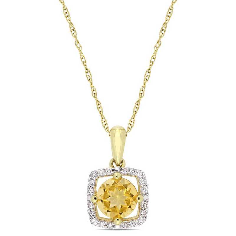 BAL001180: Citrine/Diamond Square Halo Pendant/Chain in 10k Yelow Gold