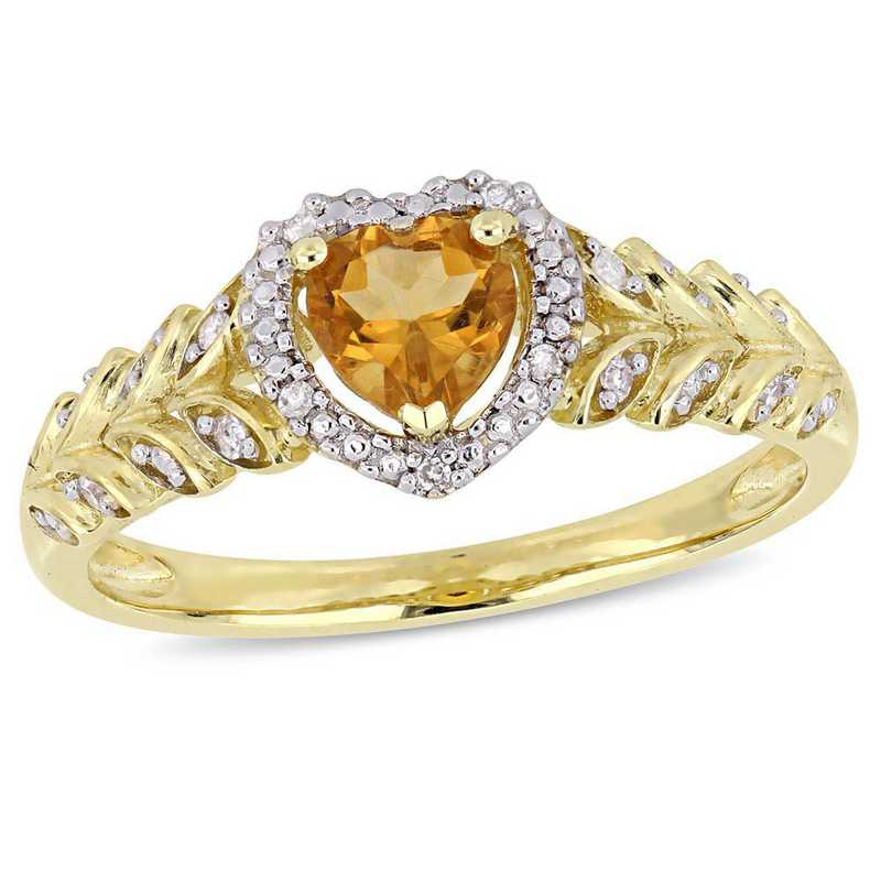 Citrine and Diamond Accent Halo Heart Ring in 10k Yellow Gold
