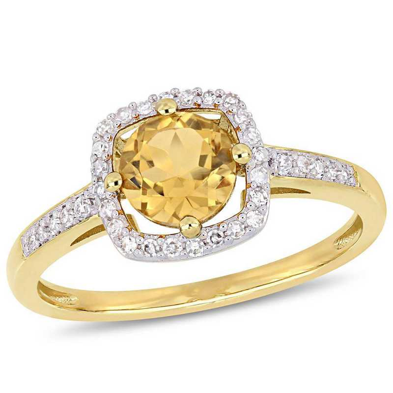 Citrine and 1/7 CT TW Diamond Square Halo Ring in 10k Yellow Gold