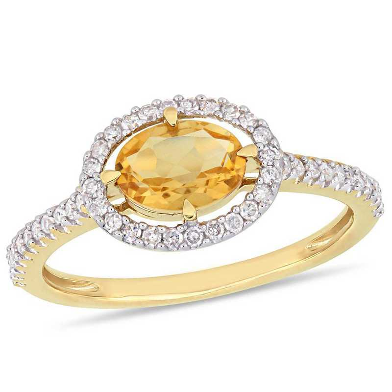 Citrine and 1/4 CT TW Diamond Halo Ring in 10k Yellow Gold