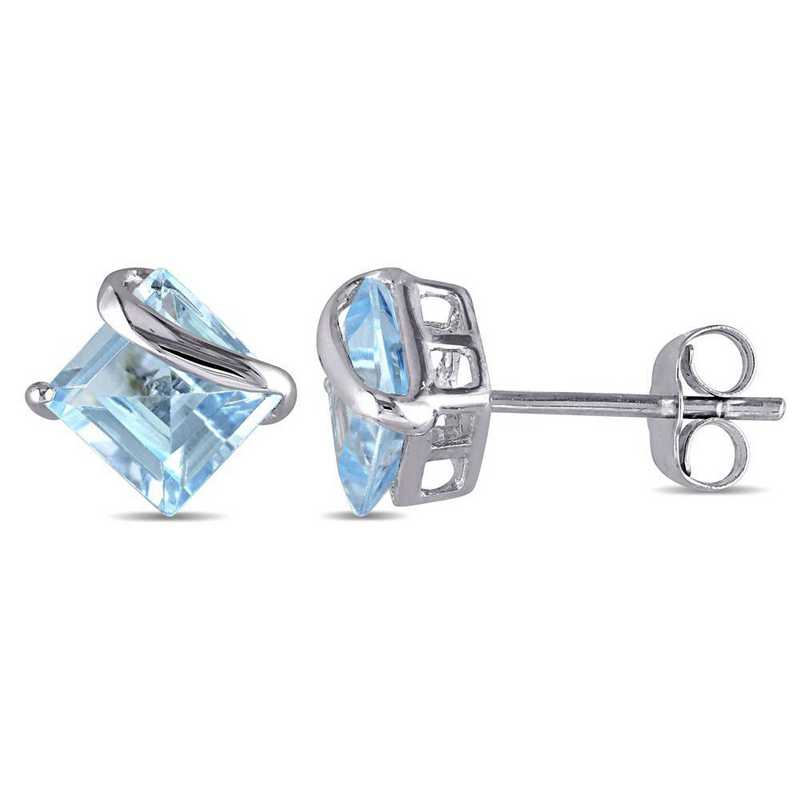 BAL001184: Square Blue Topaz Swirl Stud Earrings in 10k Wht Gold