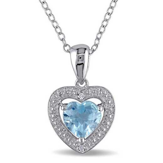 BAL001186: Blue Topaz/Diamond Heart Necklace in SS