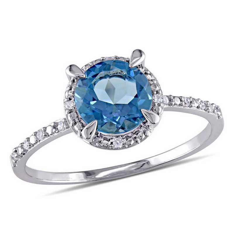 London-Blue Topaz and Diamond Accent Halo Ring in 10k White Gold