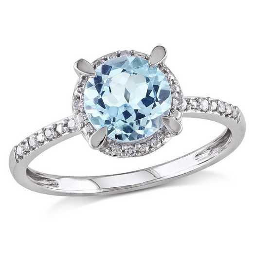 Blue Topaz and Diamond Accent Halo Ring in 10k White Gold
