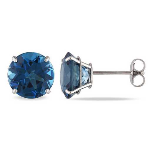 BAL001189: London Blue Topaz Solitaire Stud Earrings in 14k Wht Gold