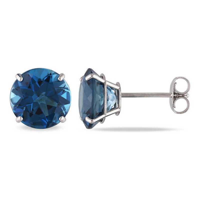 BAL001189: London Blue Topaz Solitaire Stud Earrings in 14k Wht Gold