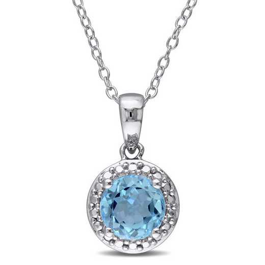 BAL001190: Blue Topaz Halo Pendant with Chain in SS