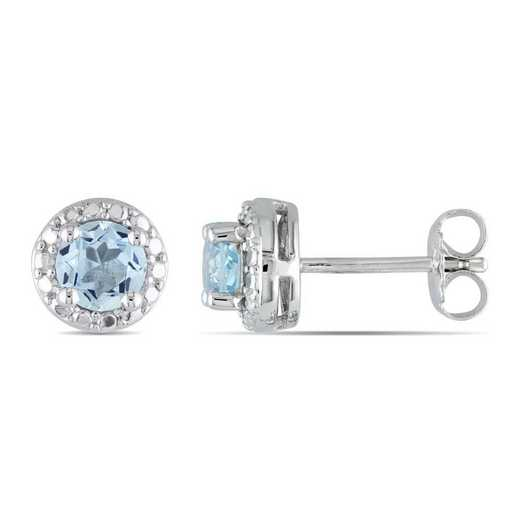 BAL001191: Blue Topaz Halo Stud Earrings in SS
