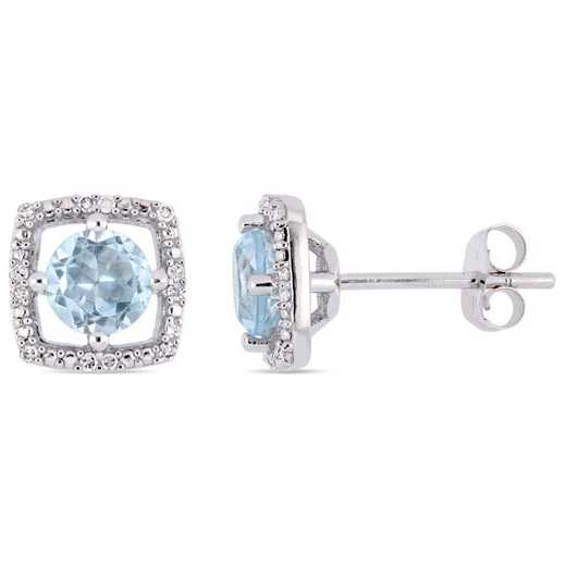BAL001193: Blue Topaz/Diamond Halo Square Stud Earrings in 10k Wht Gold