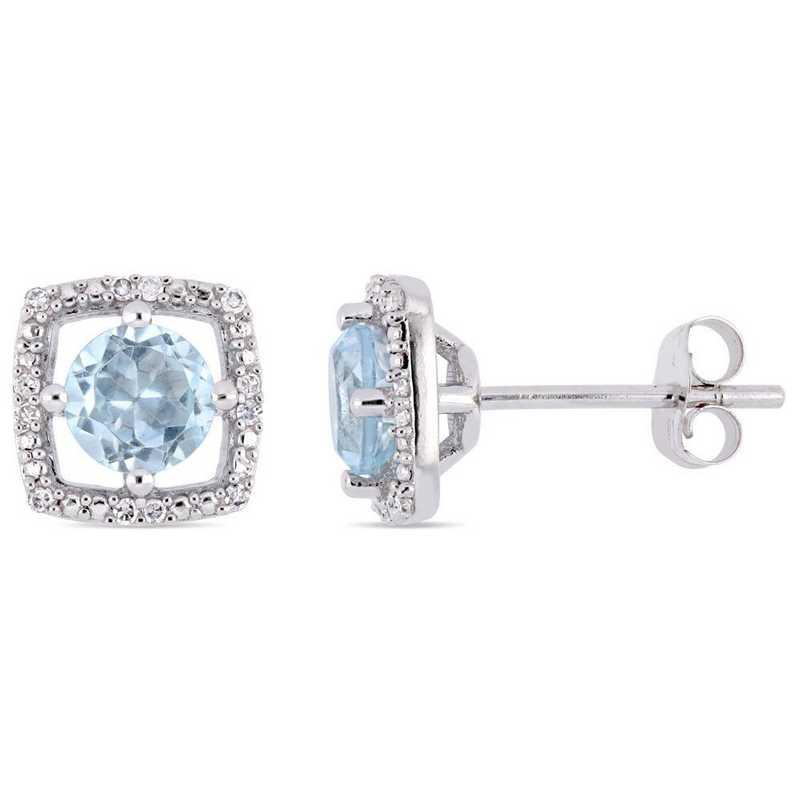 BAL001193: Blue Topaz/Diamond Halo Square Stud Earrings in 10k Wht Gold