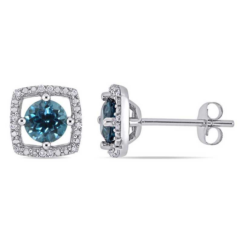 BAL001194: London-Blue Topaz/Diamond Square Stud Earrings/10k Wht Gold