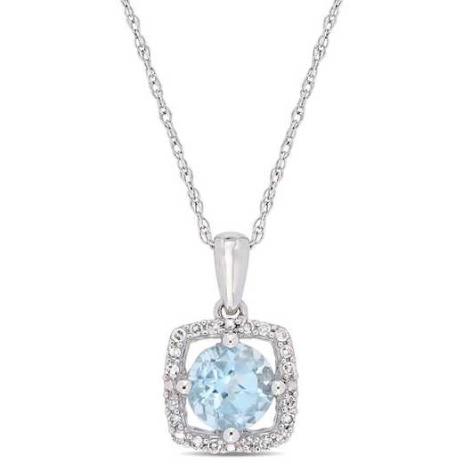 BAL001195: Blue Topaz/Diamond Square Halo Pendant/Chain in 10k Wht Gold