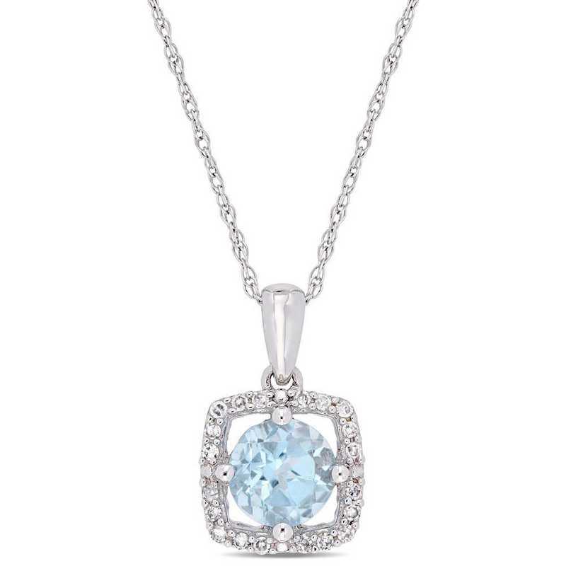 BAL001195: Blue Topaz/Diamond Square Halo Pendant/Chain in 10k Wht Gold