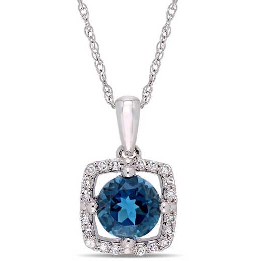 BAL001196: London Blu Topaz/Diamnd Squar Halo Pendnt/Chain/10k Wht Gold