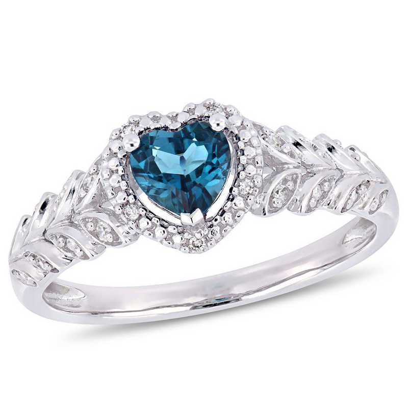 London-Blue Topaz and Diamond Accent Halo Heart Ring in 10k White Gold