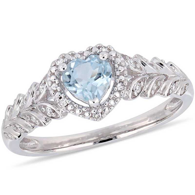 Blue Topaz and Diamond Accent Halo Heart Ring in 10k White Gold