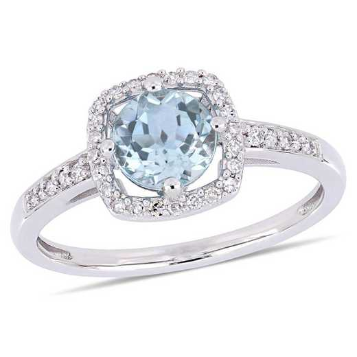 Blue Topaz and 1/7 CT TW Diamond Square Halo Ring in 10k White Gold