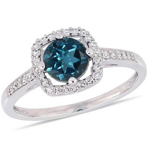 London-Blue Topaz and 1/7 CT TW Diamond Square Halo Ring in 10k White Gold