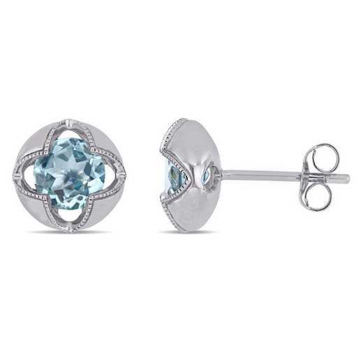BAL001202: Blue Topaz Floral Halo Stud Earrings in 10k Wht Gold
