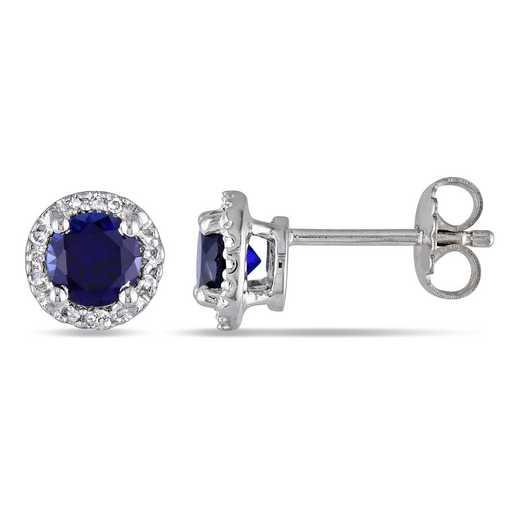 BAL000522: Created Blue Sapphire / Diamond Halo Stud Earrgs  SS