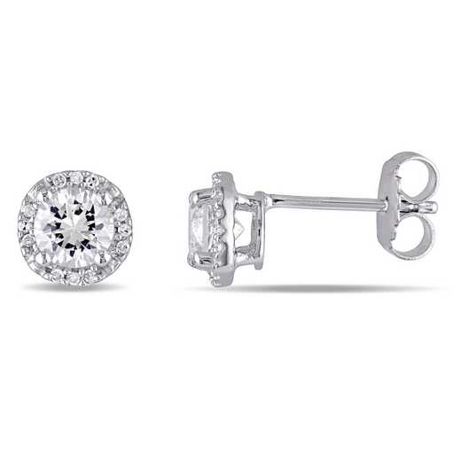 BAL000534: Halo Diamond / Created Wht Sapphire Stud Earrgs  SS