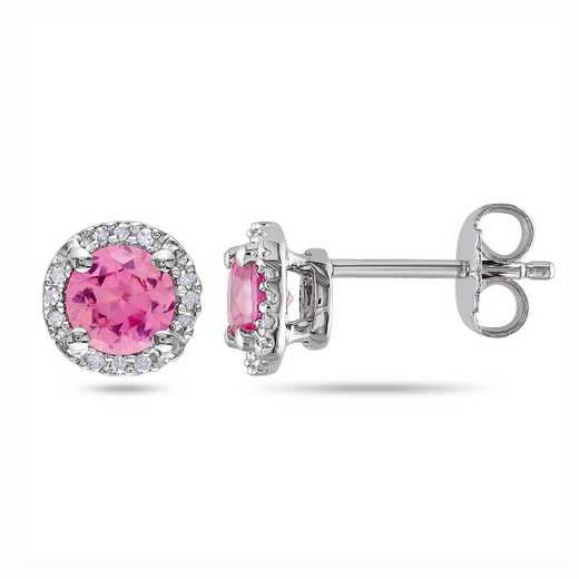 BAL000537: Created Pink Sapphire / Diamond Earrings SS
