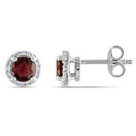 BAL000538: Garnet / Diamond Halo Stud Earrgs  SS