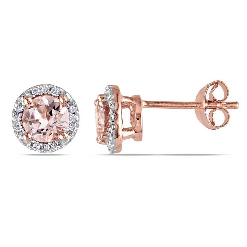 BAL000542: Dia & Morganite Stud Earrings Rose Plate SS